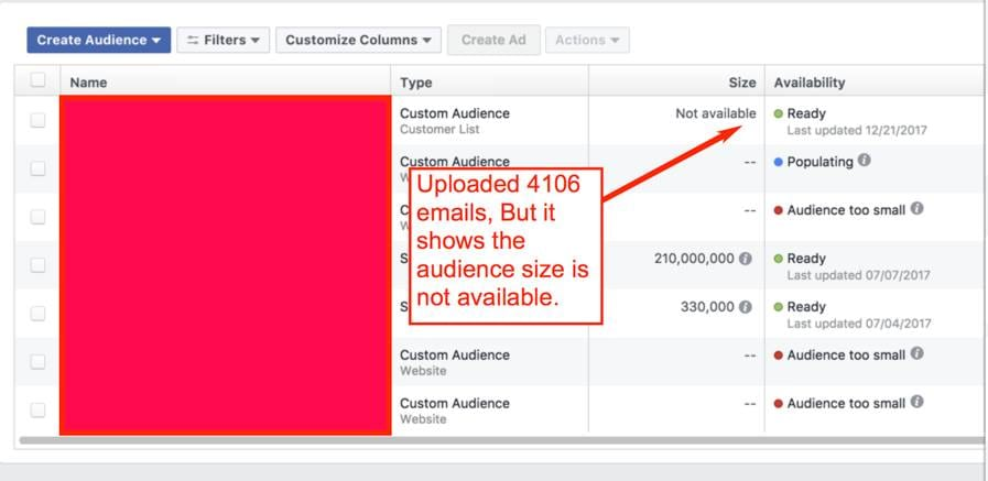 facebook custom audience size not available