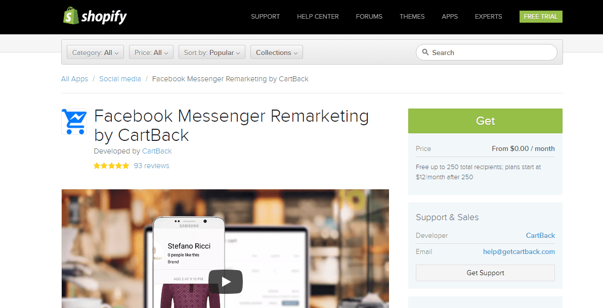 must have shopify apps - Facebook Messenger Remarketing by Cartback