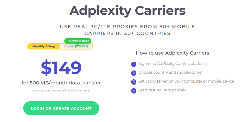 AdPlexity carriers pricing