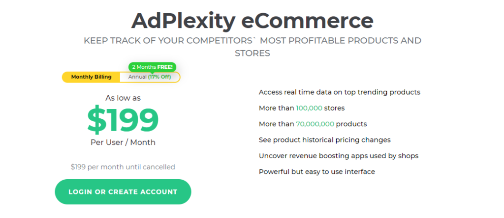 AdPlexity ecommerce pricing