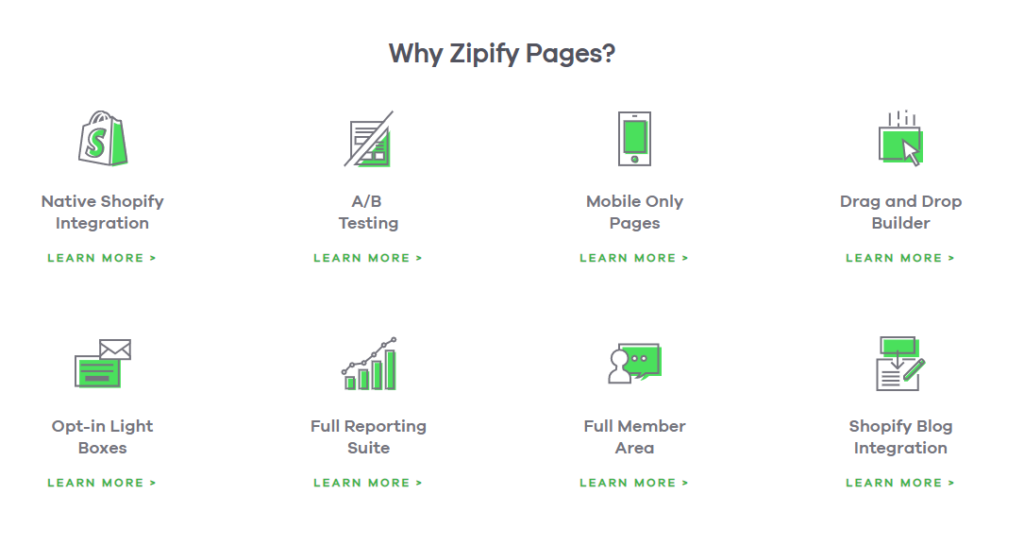 Zipify Pages features