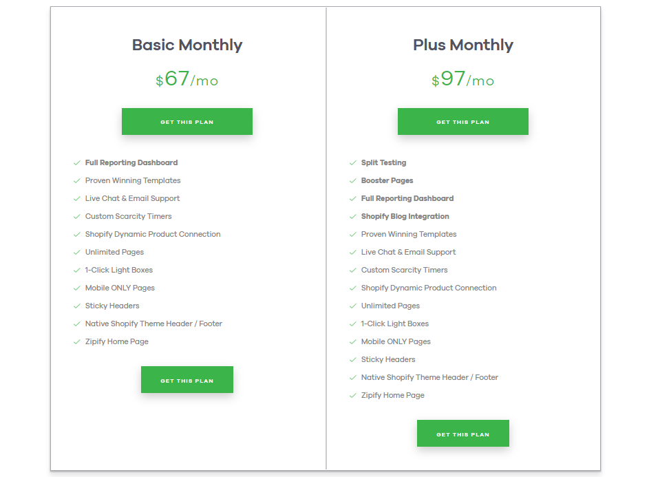 Zipify pricing